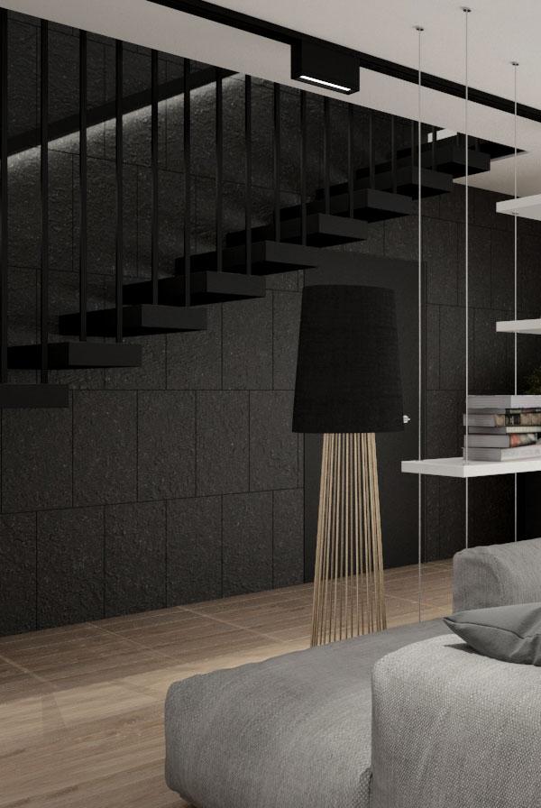 minimalizm monokolor z czarnymi schodami